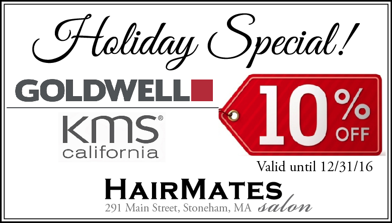 holiday coupon at Stoneham MA hair salon